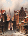 A snow-covered street in Delft, with the church spire of the Oude Jan in the background - Eduard Alexander Hilverdink