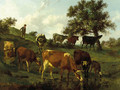A hilly landscape with a herdsboy and cows drinking by a brook - Edouard Woutermaertens