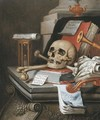 A vanitas still life with an hour glass, a skull and crossbones, a scroll, two books, music scores, a flute, a violin, a sheet of paper - Edwaert Collier