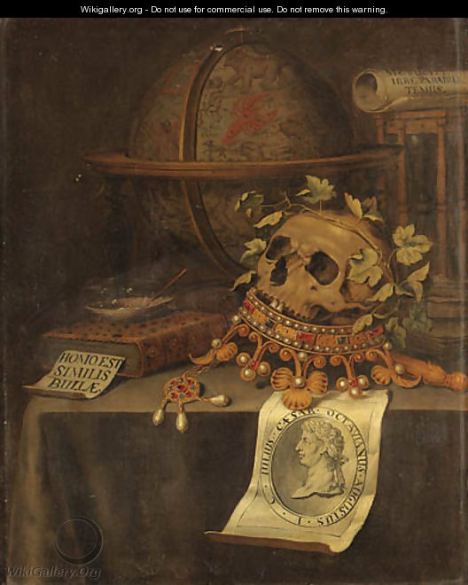A Vanitas Still Life with a Skull in a jewelled Crown, an astrological Globe, an Hourglass, a Book - Edwaert Collier