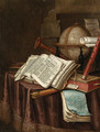 A Vanitas still life with a globe, musical instruments, a score and an emblem book on a draped table before a column - Edwaert Collier