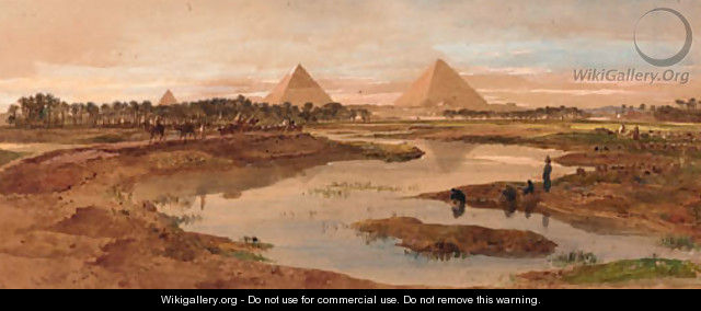 A camel train with the pyramids beyond - Edward Alfred Angelo Goodall