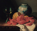Shrimps, a peeled lemon, a glass of wine and a blue and white ginger jar, on a draped table - Edward Ladell