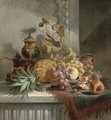 Pineapple, grapes, plums, pomegranate, peaches on a silver tray, on a marble ledge - Edward Ladell