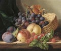 Grapes, peaches, raspberries, and plums with a basket on a wooden shelf - Edward Ladell