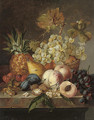 Grapes, peaches, cherries, walnuts, hazelnuts, a pear and a pineapple on a ledge - Edward Ladell