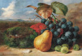 Gooseberries, a pear, a peach, grapes and a bird's nest, on a bank - Edward Ladell