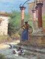 Feeding pigeons at the well - Edward Docker