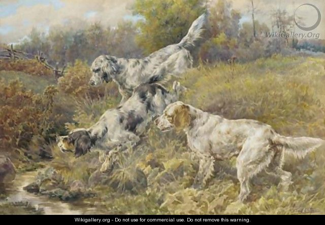 English Setters at a stream - Edmund Henry Osthaus