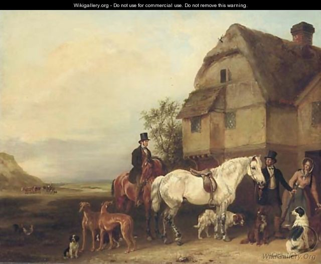 A sporting party outside a house - Edmund Bristow
