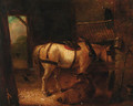A horse and donkey in a stable - Edmund Bristow