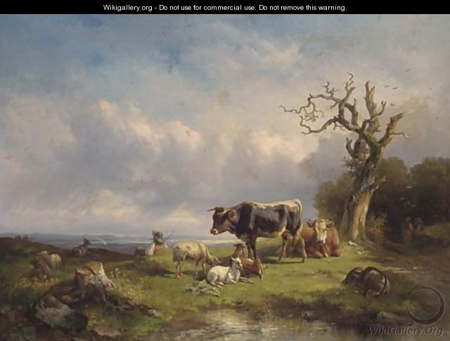 A herdsman with cattle and sheep in a landscape - Edmund Mahlknecht