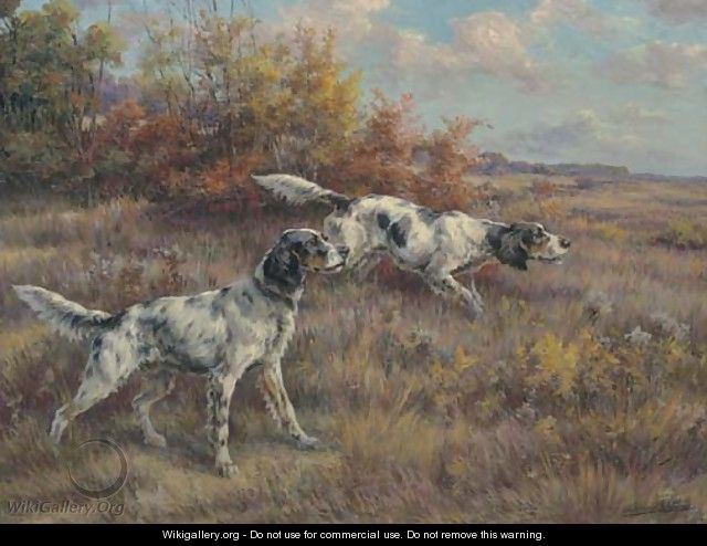 Two setters on a point in an extended landscape - Edmund Henry Osthaus