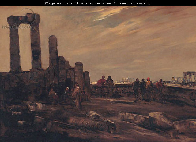 Arab Figures Among Ruins - Jacques-Edouard Dufeu