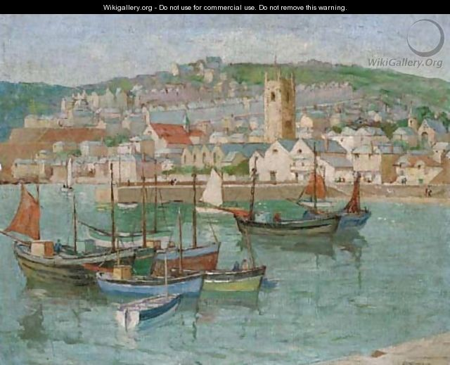 Fishing vessels moored in a Cornish harbour - Edith Mary Garner