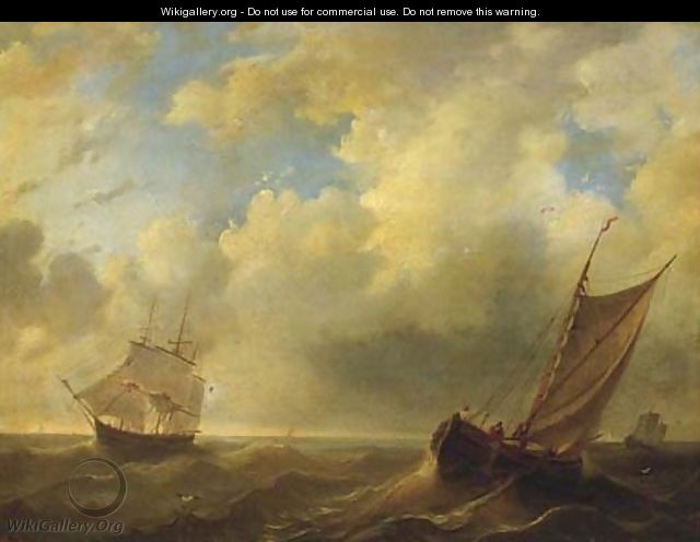 Shipping on a choppy sea - Dutch School