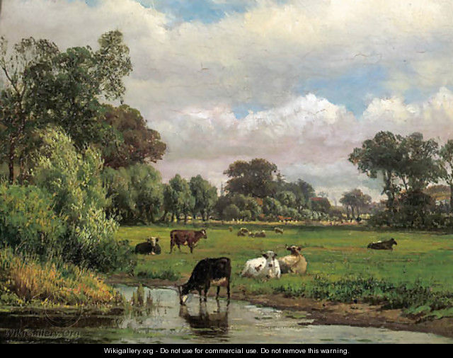 Cows in a meadow, with a village in the distance - Dutch School