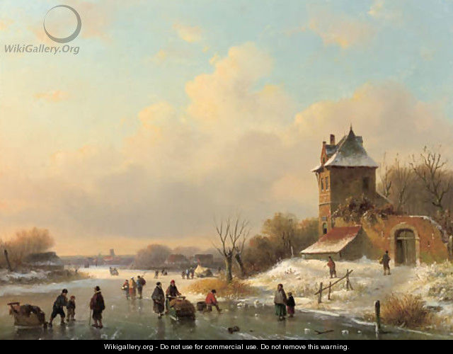 A winter landscape with skaters by a fortified mansion - Dutch School
