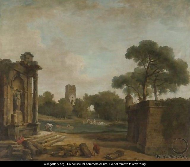 Figures In A Landscape With Roman Ruins And A Gothic Tower - Hubert Robert