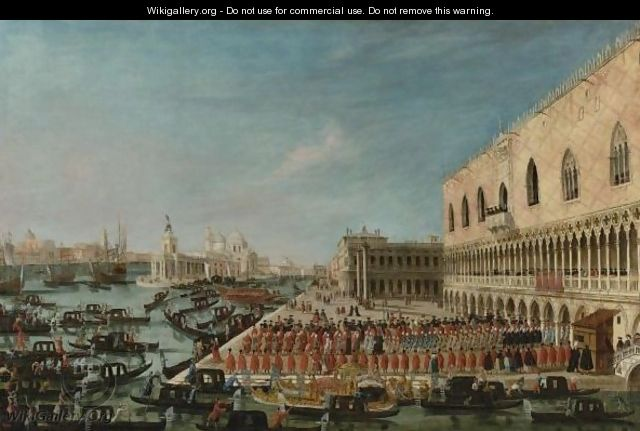 A View Of The Molo, Venice, Looking West With A Procession Of Ambassadors And Attendants Entering The Palazzo Ducale - Gabriele Bella