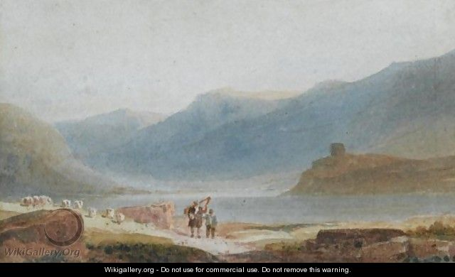 A Man With A Harp And His Son Near Dolbadern Castle, Llanberis - David Cox