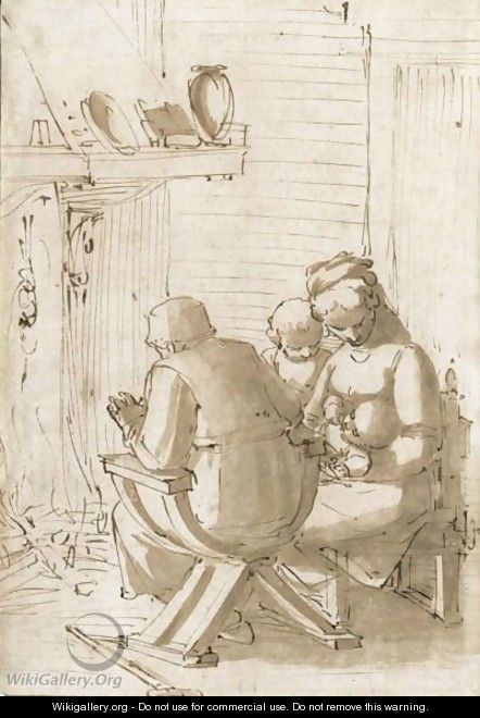 The Holy Family Seated Before A Hearth 2 - Luca Cambiaso