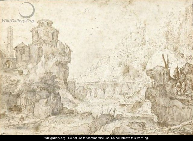Mountainous River Landscape With The Hradcany And The Cathedral Of St Vitus, Prague, Behind - Roelandt Jacobsz Savery