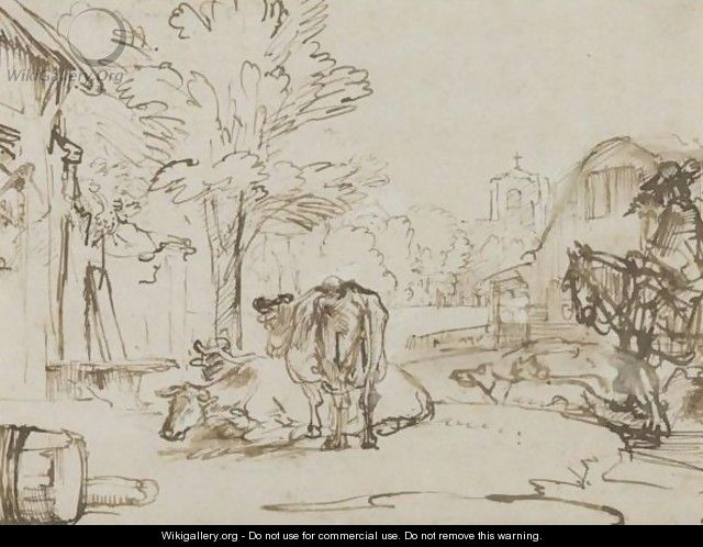 A Village Street, With A Horse And Rider Accompanied By Dogs To The Right, And Three Cows Towards The Left - (after) Rembrandt Van Rijn