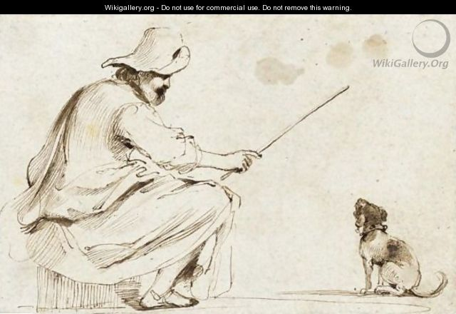 A Seated Man Wearing A Hat And Holding A Cane To Train A Dog - Giovanni Francesco Guercino (BARBIERI)