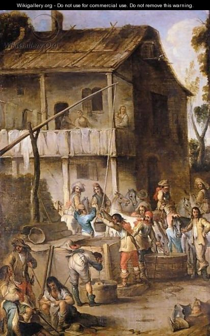 Soldiers Before A Tavern Drawing Water From A Well And Watering Their Horses - Cornelis de Wael