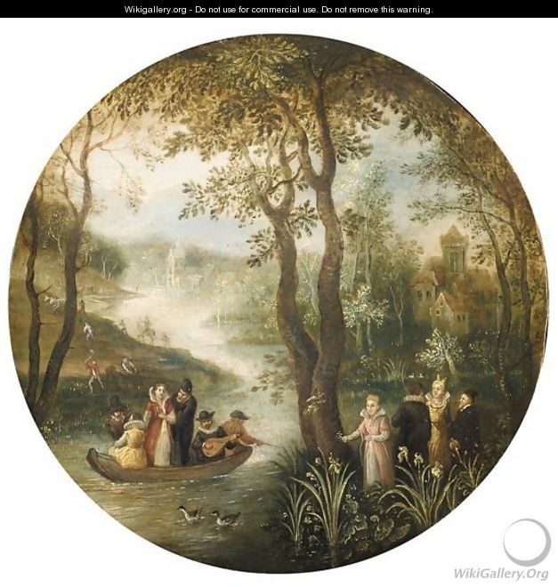 River Landscape, With An Elegant Company In A Boat, A Manor House Beyond - Antwerp School