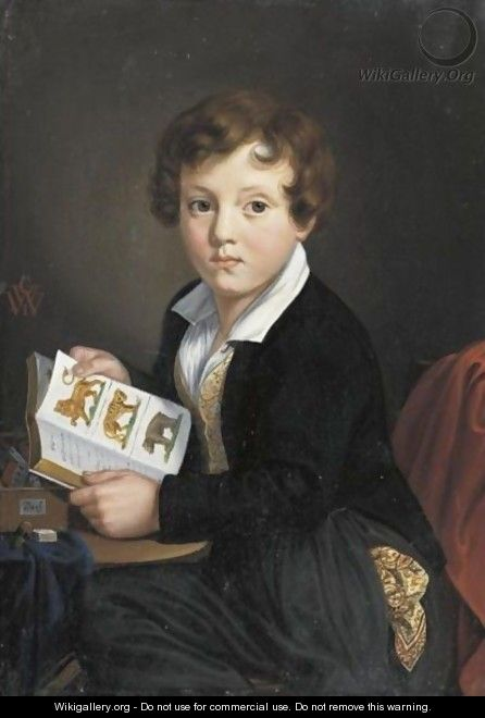 Portrait Of A Young Boy Reading A Book - Georg Wilhelm Wanderer