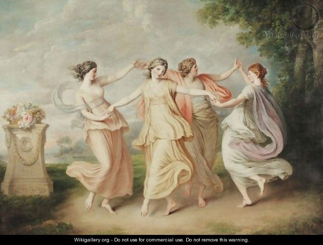 A Landscape With Four Nymphs Dancing - (after) Cipriani, Giovanni Battista