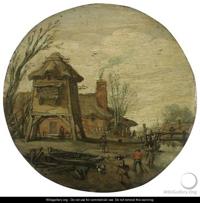 A Winter Landscape With Figures Skating And Playing Kolf On A Frozen River, Before A Large Dovecote And A Cottage - Esaias Van De Velde