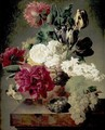 Vase Of Flowers With A Nest On A Ledge - (after) Jan Frans Van Dael