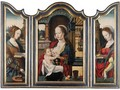 A Triptych - Central Panel The Virgin And Child - Left Wing Saint Catherine - Right Wing Saint Barbara - Antwerp School