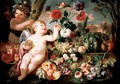 A Still Life With Two Putti, Grapes, Melons, Pomegranates, Peaches And Flowers In An Exotic Landscape - Franz Werner von Tamm