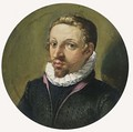 A Portrait Of A Gentleman, Bust Length, Wearing A Red-Lined Black Costume With White Lace Collar - (after) Jacob De II Gheyn