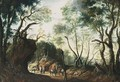 A Wooded Landscape With Horsemen And Travellers On A Path - Jan Wildens