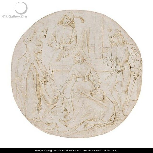 A Roundel Design An Interior Scene With Four Figures - Netherlandish School