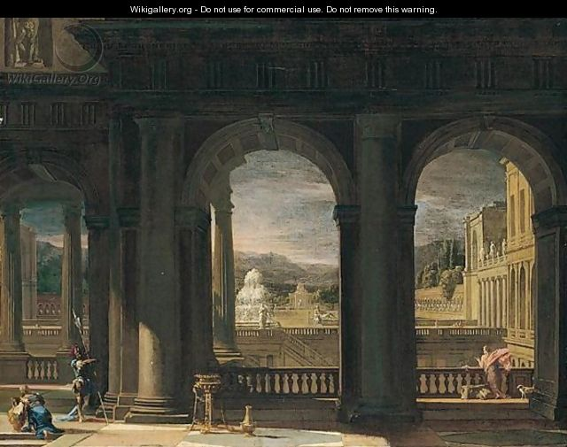 An architectural capriccio with figures near a balcony - Thomas Blanchet