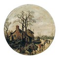 A winter landscape with figures skating and sledging on the ice outside village - Jan van Goyen