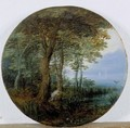 Hunters In A Wooded Landscape By A River - (after) Jan, The Younger Brueghel