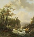 Mountainlandscape In Evening Sunshine With A Waterfall In The Background - Willem De Klerk