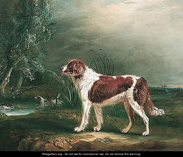 Two Spaniels By A Stream, One Putting Up Mallard - John Ferneley, Snr.