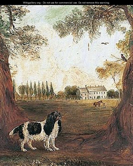 A King Charles Spaniel In A Park, A Country House Beyond - John Ferneley, Snr.
