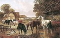 Horses And Cattle In A Farmyard 2 - John Frederick Herring, Jnr.
