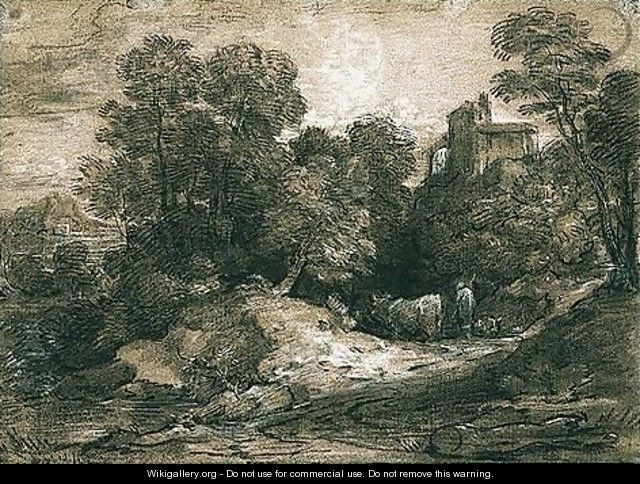 Wooded Landscape With Herdsman And Cattle, A Building Beyond To The Right - Thomas Gainsborough