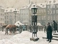 Snekastere Ud For Domhuset Pa Nytorv (A Snow Shower Outside Domhuset, Copenhagen) - Paul-Gustave Fischer