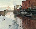 Fabrikker Ved Elven, Kristiania (Factories By The River, Kristiania) - Fritz Thaulow